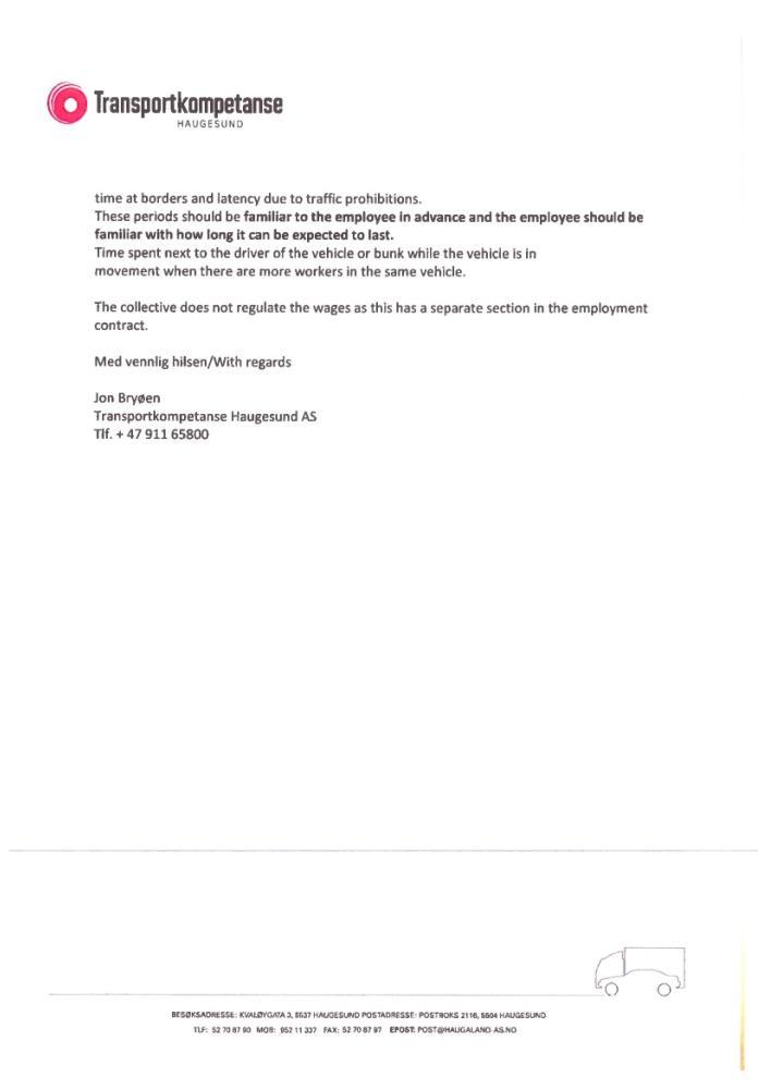 Slavekontrakter i norsk transportnæring (5/5)